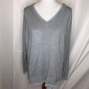 Lane Bryant Gray V-Neck Sweater